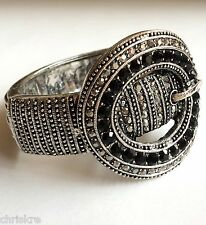 Belt Buckle Cuff Bracelet Country Western Cowgirl Black Crystals USA Seller