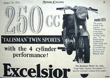 1953 EXCELSIOR 'Talisman Twin Sports' Motor Cycle ADVERT - Original Print AD