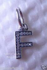 LETTER F Authentic PANDORA Sterling Silver/Cz Zirconia Dangle NEW Charm-Bead NEW