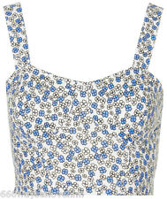 Topshop Ditsy Floral Print Soft Stretch Bralet Top 16 44 White/Blue Flower New