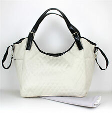 Nappy Diaper Bag Delux Quilted Cream Patent Leather Changing Bag & FREE Mat