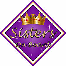 Non Personalised Child/Baby On Board Car Sign ~ Sisters On Board ~ Purple