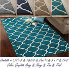 Attractive Abstract Tile Area or Runner Rug Geometric Carpet Gray Navy Tan Teal
