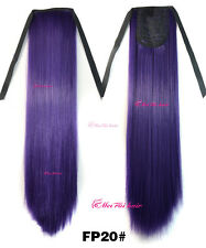 Straight Synthetic Hair Party Salon Clip In Pony Tail Ponytail Extensions Purple