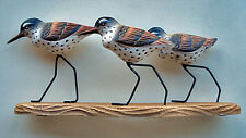 SCULPTURES - SANDPIPER TRIO WOOD CARVING - NAUTICAL DECOR - TABLETOP SCULPTURE