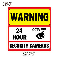 """3PCS 5"""" CCTV Decal Home Surveillance Security Camera Warning Video Sticker Signs"""