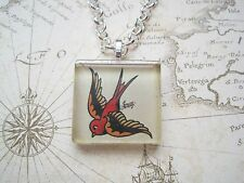 SAILOR JERRY STYLE Red SWALLOW Glass Tile SP Chain Necklace TATTOO ROCKABILY