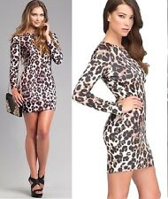 NWT bebe leopard printed zipper long sleeve bodycon cocktail top dress XS 0 2
