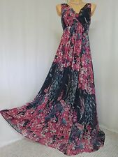 ~ NEW BEAUTIFUL MONSOON GOLDIE MAXI DRESS SIZE 14 NAVY PINK FLORAL OCCASION ~