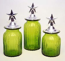 Set of 3, Mexican Glass Canisters, Green Color w/Cast Aluminum Star Design Lids.
