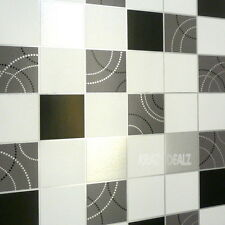 Debona Dotty Wallpaper Kitchen Bathroom Black Silver Tile Effect Washable 2670