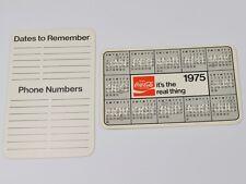 Coca Cola Coke USA Pocket Calendar Calendar Pocket Calendar 1975