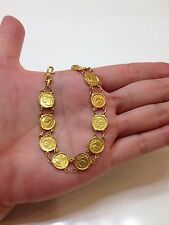 24k Solid Yellow Gold Custom Made Bracelet with Ten Panda Coins Replica