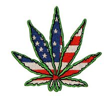 Pot Hemp Marijuana Leaf US Flag Hippie Embroidered Iron On Patch