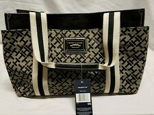TOMMY HILFIGER AUTHENTIC BLACK MED ICONIC SIGNATURE TOTE BAG HANDBAG PURSE NWT