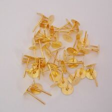 Earstud Ear Stud Earpost Ear Post Flat Pad Bright Gold Plated 6mm-100pcs.