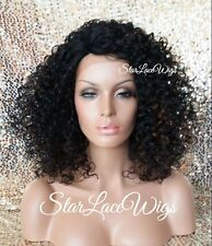 Curly Lace Front Wig Deep Wave Afro Natural #1 Black Heat Safe Ok Kinky