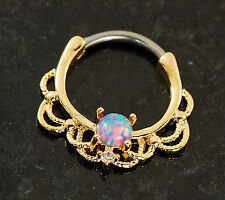 1 Pc 14K Gold Plated Lacey Single Fire Purple Opal Septum Clicker Nose Ring 16g