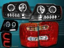 1999-2004 GRAND CHEROKEE TWO HALO PROJECTOR HEADLIGHTS BLK& RED LED TAIL LIGHTS