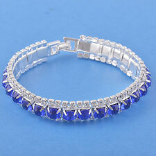 Around sapphire crystal 9K White Gold Filled Womens Bracelet F3003