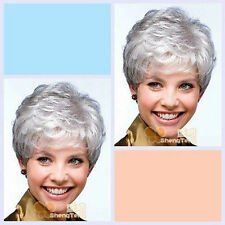 Short Perücken Wig Silver Gray Synthetic Hair Wig For The Elderly Free Shipping