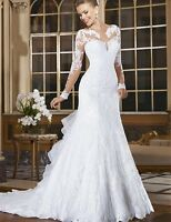 lace applqiues sheer long sleeve mermaid sweetheart mermaid wedding dress bride