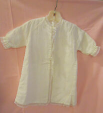 Vintage ivory silky rayon - cotton flannel lined - baby jacket / robe / gown EC