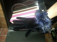 Vintage style occasion black faux velvet stretch gloves with faux feather wrist