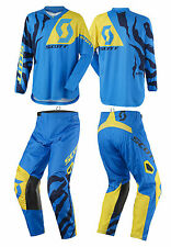 TUTA MAGLIA PANTALONI CROSS ENDURO SCOTT 350 RACE BLU GIALLO YELLOW 32(48) M