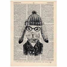 Hipster Bunny Beanie Dictionary Word Art Print OOAK, Quirky, Hare, Animal