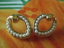 AVON*PEARLS PIERCED EARRINGS W/SURGICAL STEEL POSTS*NEW*RARE*OLD STOCK