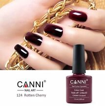 124 CANNI ROTTEN CHERRY BURGUNDY UV LED SOAK OFF GEL COLORS NAIL ART 7.3ml UK