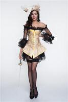 Moulin Rouge Costume Corset+Dress Overbust Bustier Basque Waist Cincher S-2XL