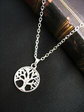 "Silver Tree of Life Charm Necklace Sacred Oak Wicca Pagan Gothic 18"" Gift Bag"