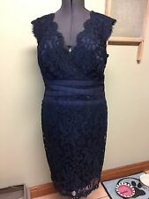 Tadashi Shoji Petite Women's Navy Lace Sleeveless V-Neck Dress Size 16P
