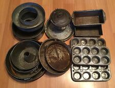 VTG ANTIQUE EKCO CHICAGO SIGNED BAKE KING BUNT MUFFIN CHEESE CAKE PAN TIN LOT