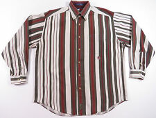 VTG 90S TOMMY HILFIGER WIDE STRIPED BUTTON UP SHIRT OUTDOORS SPORTSMAN EUC M