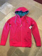 Women's Volcom Stone Dot Hydro Zip up Fleece  Hoodie Pink XS Extra Small NWT