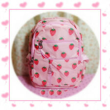 Lolita Kawaii Pink Strawberry Canvas Student School Bag Backpack Sweet Girls