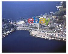 Bertrand Island Amusement Park & roller coaster aerial photo, Mt Arlington, NJ