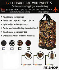 Foldable Shopping Cabin Leopard Bag Trolley with Wheels Lightweight & Compact