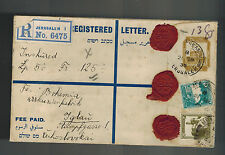1936 Jerusalem Palestine Airmail cover to Czechoslovakia Red Wax Seals