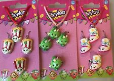 3 Sets Of Shopkins Necklace, Earrings& Ring SneakyWedge, PoppyCorn, Appleblossom