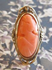 ANTIQUE GOLD CARVED ANGEL SKIN CORAL CAMEO RING LACY FILIGREE CANNETILLE SZ 4.5