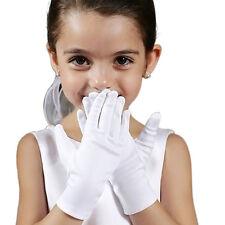 Kid Gloves White Short Satin Feel Boy Hold Flower Girl Performance Dance Elastic
