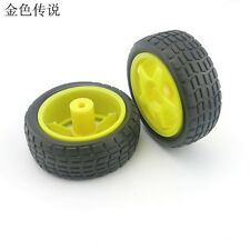4pcs Yellow 65mm Smart  Car Model Tire Wheel Robot Part DIY Toy RC TT Motor