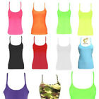 Kids Girls Neon Lycra Racerback Vest Top 80s Dance Tops Fancy Party Dress 5-12