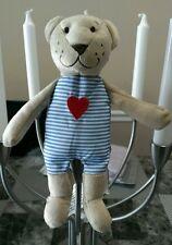 IKEA Fabler Bjorn Plush Teddy Bear Blue Stripe Red Heart Stuffed Baby Lovey New