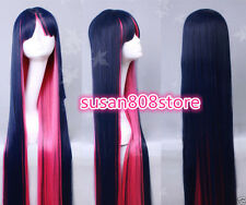 Ladies Panty Stocking Long Blue Pink Straight Halloween Cosplay Wigs + wig cap