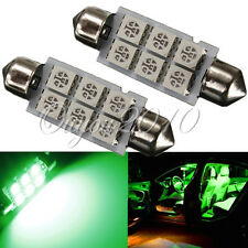 2x Green 42MM  6 SMD 5050 LED Festoon Dome Map Interior Car Panel Light Bulb 12V